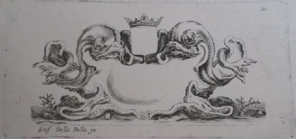 Design for a cartouche with two marine creatures and a crown on the top