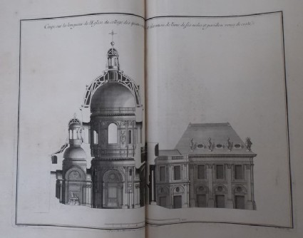 Longitudinal section of the church in the Collège des Quatre-Nations, elevation of a wing and of the pavilion