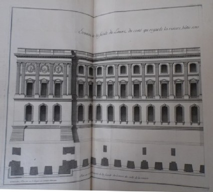 Façade of the Louvre from the side facing the river, and a plan of the ground floor