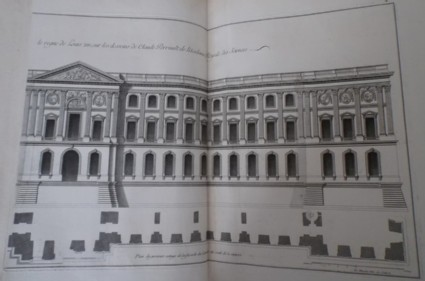Façade of the Louvre from the side facing the river, and a plan of the ground and first floor