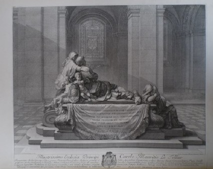 Interior of a church, with side view of Cardinal Richelieu's tomb