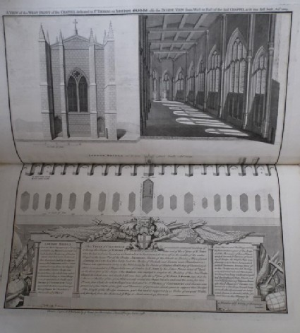 A View of the West Front of the Chappel dedicated to St Thomas on London Bridge, also the Inside View from West to East of the said Chappel as it was first built, Anno 1209