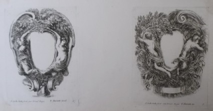 Design for two cartouches, from the series 'Nouvelles inventions de Cartouches', plates 6 and 5