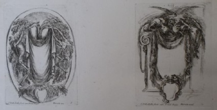 Design for two cartouches, from the series 'Nouvelles inventions de Cartouches', plates 9 and 10