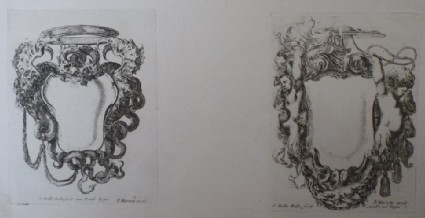Design for two cartouches, from the series 'Nouvelles inventions de Cartouches', plates 8 and 7
