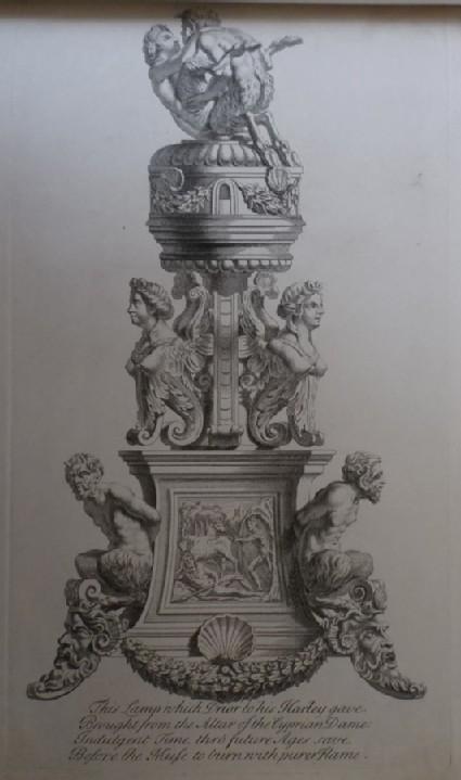Three-sided bronze stand