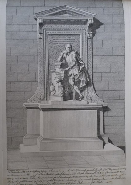 Portrait after Scheemakers' memorial statue of Shakespeare in Westminster Abbey, 'Gulielmo Shakespear'