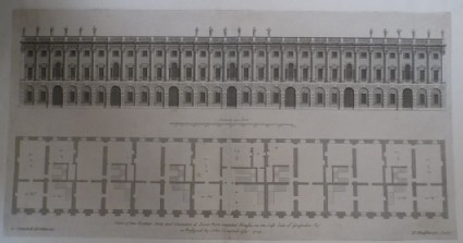 Upright of seven new houses in Grosvenor Sq. and plan of the Parlour Story