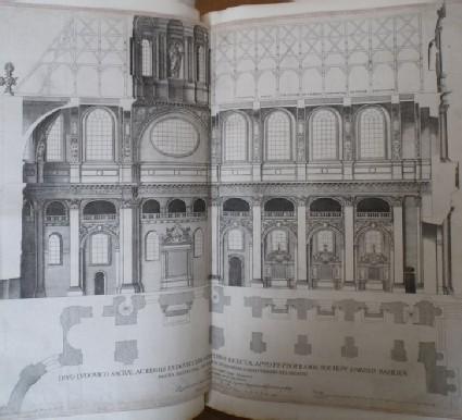 Plan and interior of the Val de Grace church in Paris (Val-de-Grâce)