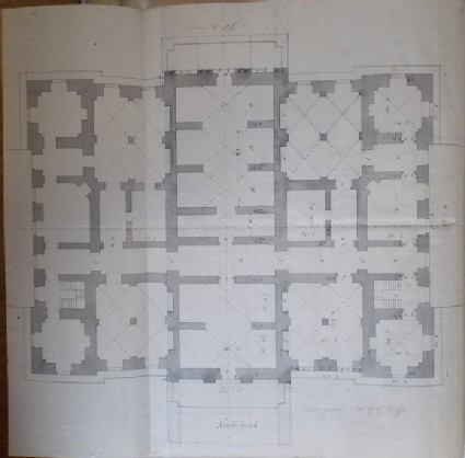 Design of the plan of the basement of the new building of Hamstead Marshall, the seat of Lord Craven