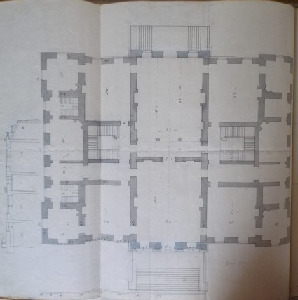 Design of the plan of the first floor of the new building of Hamstead Marshall, the seat of Lord Craven