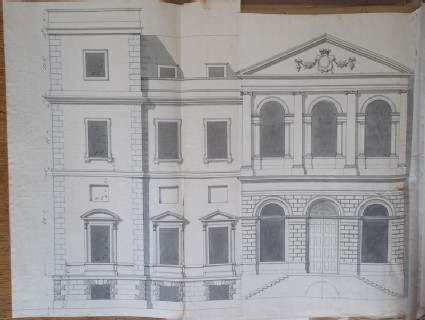 Recto: Design of an alternate draft of the upright for the main facade of the new building of Hamstead Marshall 