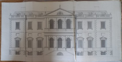 Recto: Design of the upright of the south facade of the new building of Hamstead Marshall 