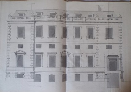 Recto: Design of the upright of the end of the house for the new building of Hamstead Marshall 