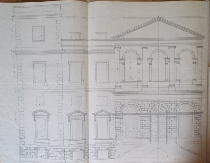 Drawing of an alternate draft of the upright for the main facade of the new building of Hamstead Marshall, the seat of Lord Craven