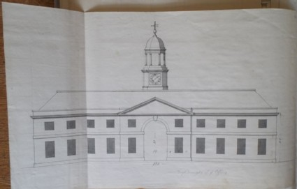 Design of the upright of an alternate draft for the offices of the new building of Hamstead Marshall, the seat of Lord Craven