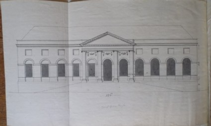Design of the upright of an alternate draft for the greenhouse of the new building of Hamstead Marshall, the seat of Lord Craven