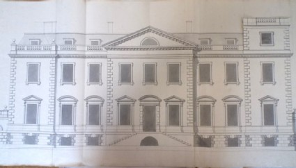 Recto: Design of the facade of the house fronting on the court of the new building of Hamstead Marshall 