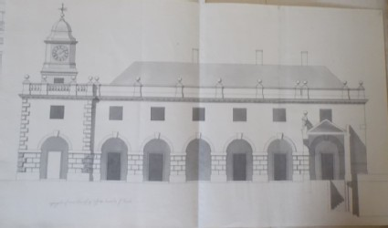 Design of the upright of the offices of the new building of Hamstead Marshall, the seat of Lord Craven