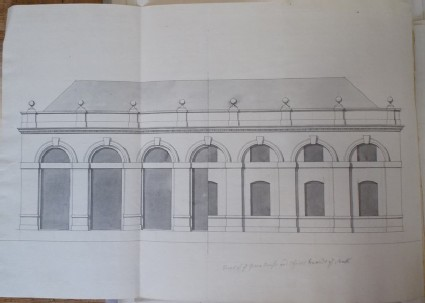 Design of the upright of the green house and offices towards the south of the new building of Hamstead Marshall, the seat of Lord Craven