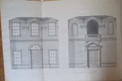 Design of the uprights of the ends of the entrance hall of the new building of Hamstead Marshall, the seat of Lord Craven