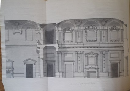 Design of the upright of the side of the hall and salon of the new building of Hamstead Marshall, the seat of Lord Craven