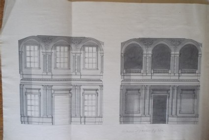 Design of the uprights of the ends of the salon of the new building of Hamstead Marshall, the seat of Lord Craven