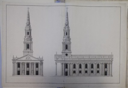 Recto: Design for the elevations of the west end and south side of the church of St Martin-in-the-Fields 