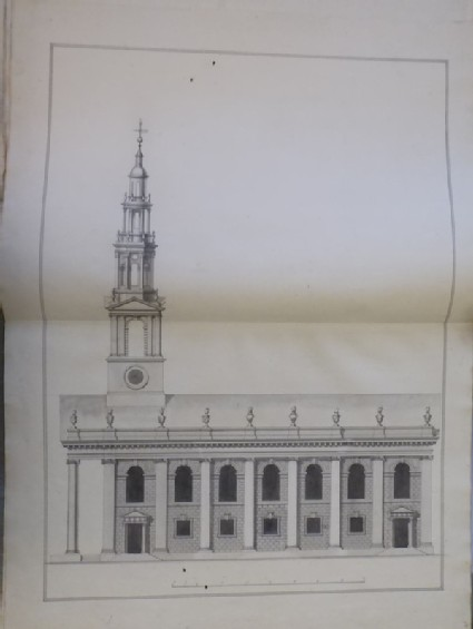 Design for the elevation of the south side of an alternative design for the church of St Martin-in-the-Fields