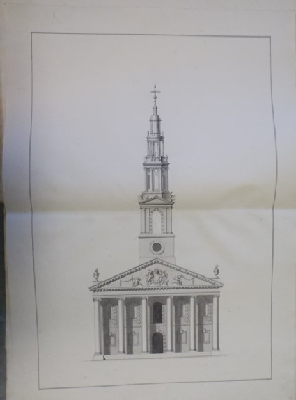 Design of the upright of the west end of an alternate draught for the church of St Martin-in-the-Fields