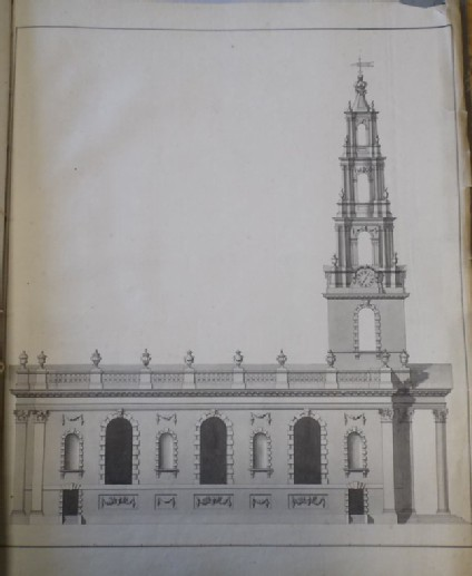 Design of the upright of the north side of an alternate draught for the church of St Martin-in-the-Fields