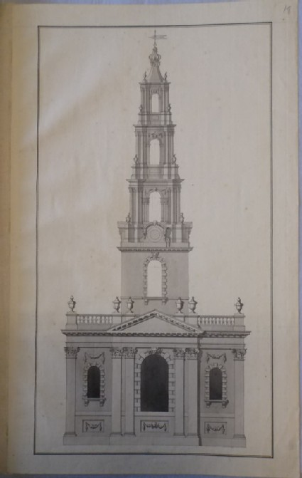 Design of the upright of the east end of an alternate draught for the church of St Martin-in-the-Fields