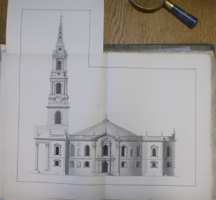 Design of the upright of the south side of the 'first Draught of a Round Church' for St Martin-in-the-Fields