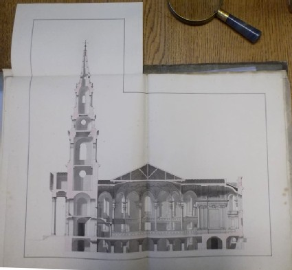 Design of the section along the main axis of the 'first Draught of a Round Church' for St Martin-in-the-Fields