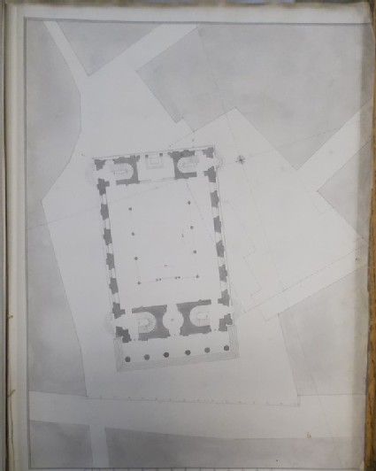 Design of the plan of the church of St Martin-in-the-Fields with its relation to the surrounding buildings