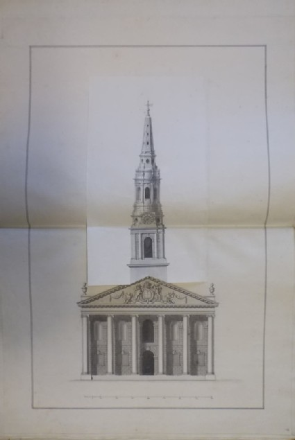 Design of the upright of an alternate draught for the church of St Martin-in-the-Fields, with another draught of the tower