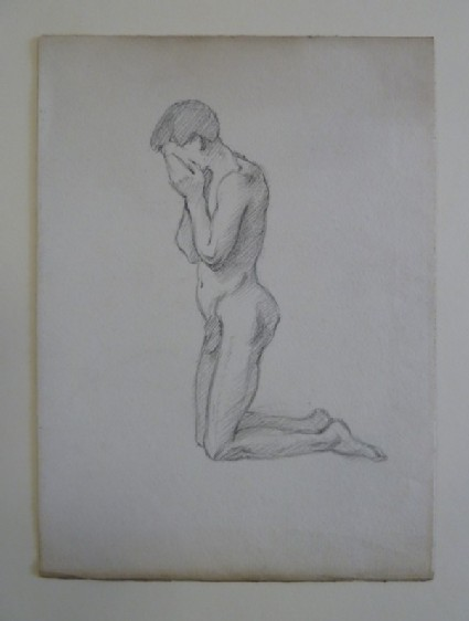 Nude Man kneeling down, with Face in Hands