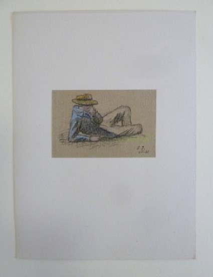 Reclining Man, up on one Elbow, with Hat