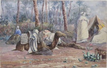 Scene with Camels and Tents among Palm Trees