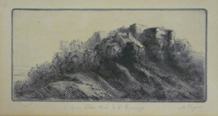 Landscape with buildings on a hill