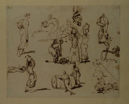 Sheet of figure Studies including Men rolling a Barrel
