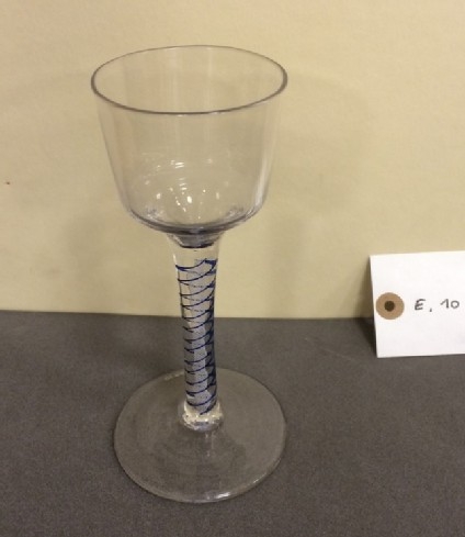 Large blue colour-twist wineglass