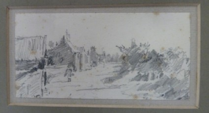 Figure walking down a lane, with cottages