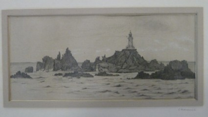 Lighthouse on craggy rocks