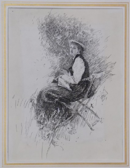Study of a Woman reading in the Garden