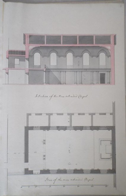 Section and plan of the new intended Chapel (Kiveton House)