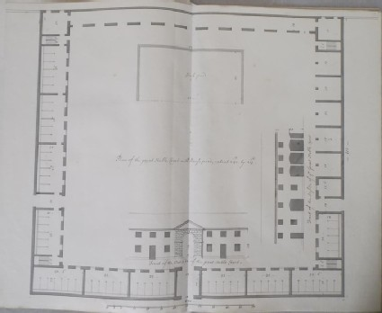 Plan of the great stable Court and fronts of the inside and outside of the same building (Kiveton House)