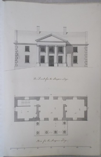 Front and plan of the Keepers lodge of Kiveton House