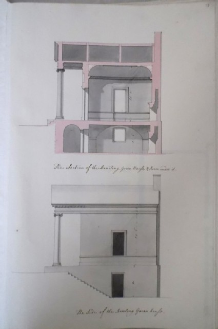 Section and side of the Bowling Greenhouse of Kiveton House