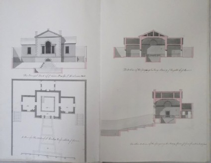 Front, plan and sections of the building over St Nicolaus's Well (Kiveton House)